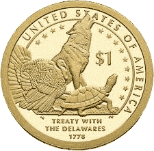 1 dolar 2013 - Native American - Treaty with the Delawares of 1778 (D)