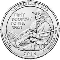 25 Centów 2016 - Cumberland Gap - Kentucky (D) - monety